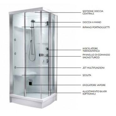 Box doccia teuco l02 bagno turco sx 90x75 rubinetteria miscelatore - Cabine doccia multifunzione teuco ...